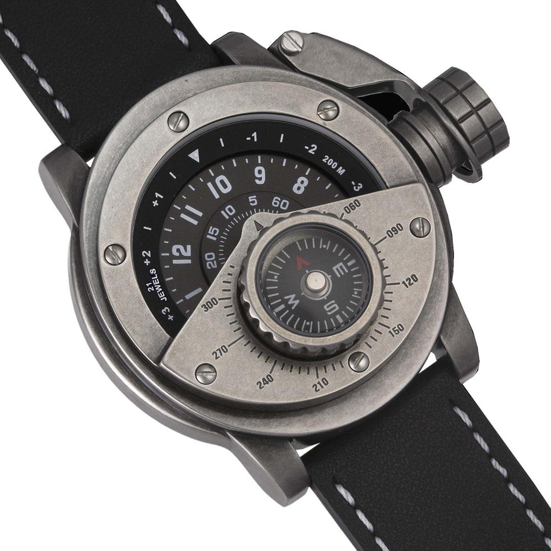 Retrowerk Automatik Uhr mit Kompass - Spezialkronenhebel R016