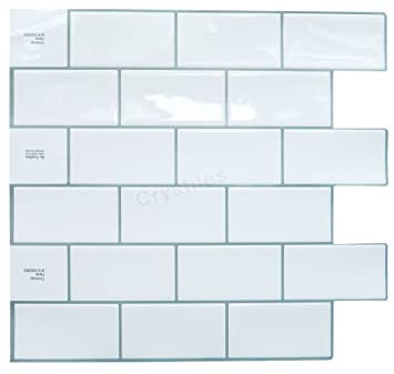 Crystiles Peel And Stick Self Adhesive DIY Backsplash Stick On Vinyl Wall  Tiles For