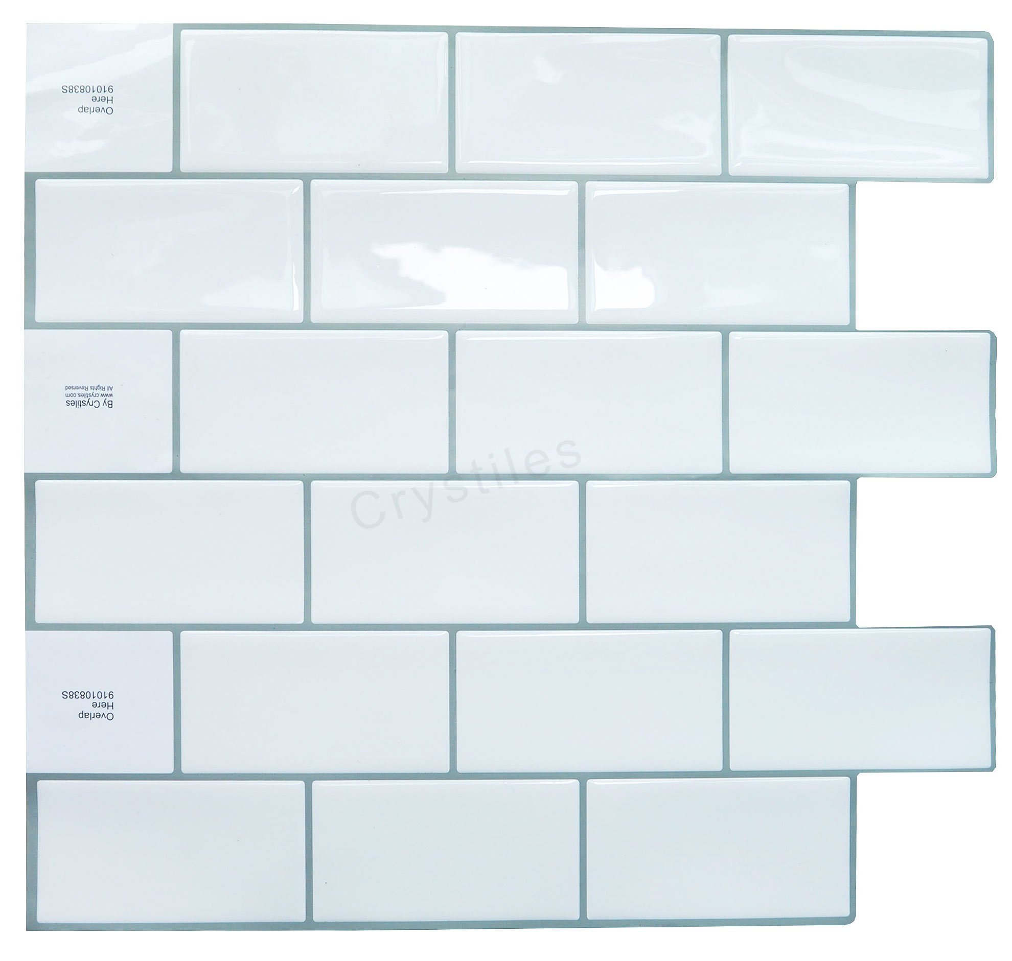"Crystiles Peel and Stick Self-Adhesive DIY Backsplash Stick-on Vinyl Wall Tiles for Kitchen and Bathroom Décor Projects, Subway White, Item# 91010838, 10"" X 10"" Each, 6 Sheets Pack"