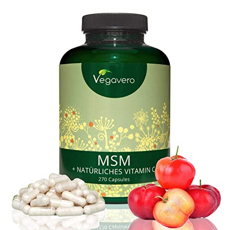 MSM 2100mg + Vitamina C Natural 25,5mg | 99,9% Puro y