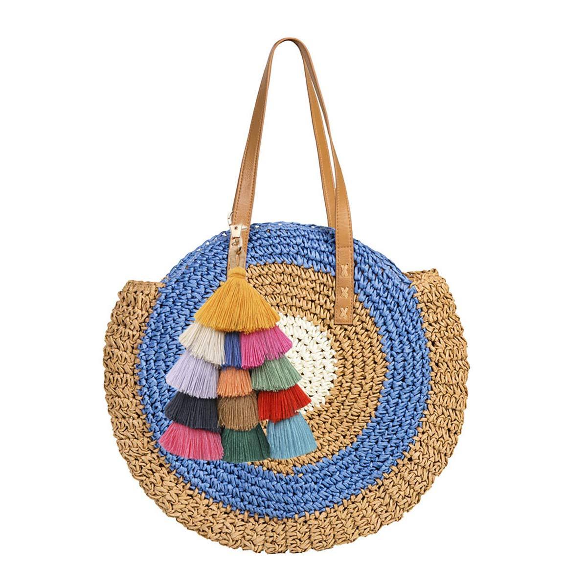 Bolso tejido de paja para mujer Bolso de playa de verano Bolso bandolera de cuero Bolso de paja grande con pomp/ón