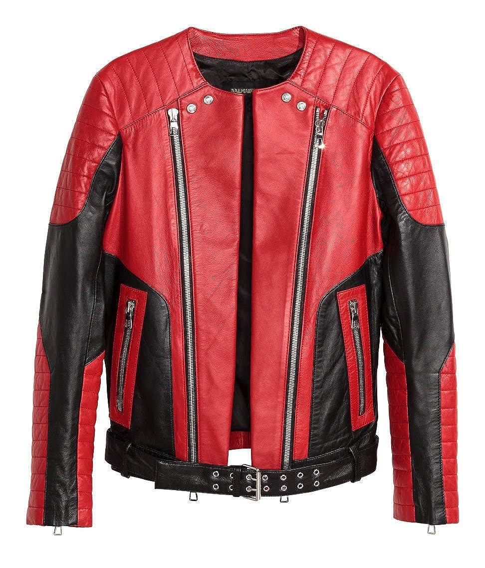 Balmain X H & M Rojas Biker chaqueta de piel Men s red ...