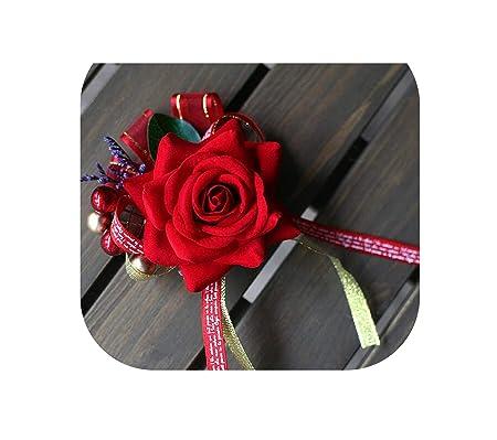 Accesorios Burgundy Vino Rojo Rosa Novio Boutonniere Hombres Traje ...
