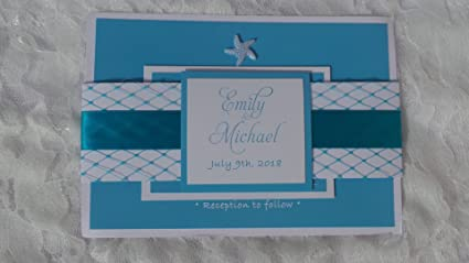 Amazon Com 100 Wedding Invitations Beach Under The Sea Net Starfish
