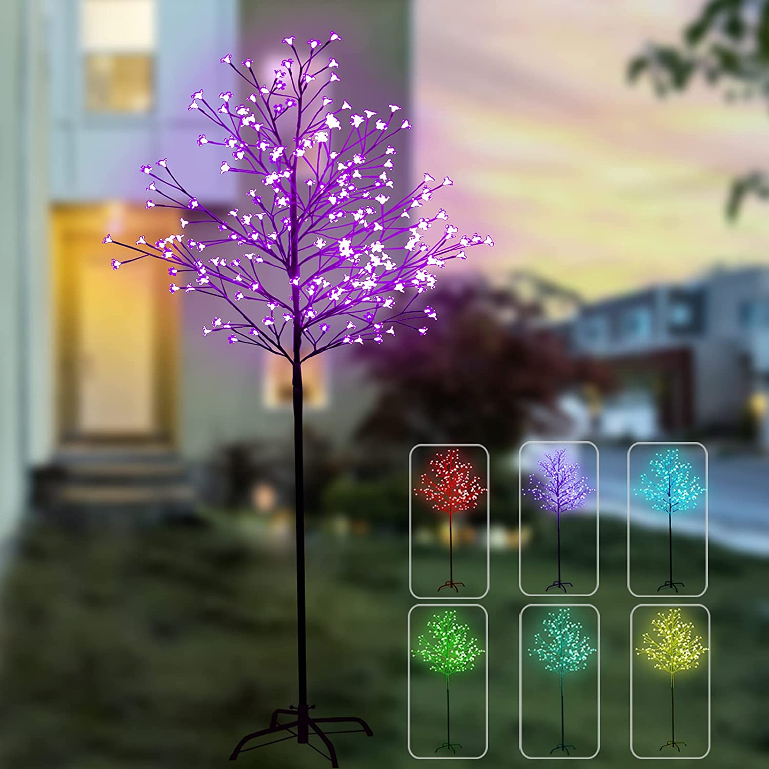 7 Feet 224 LED Color Changing Cherry Blossom Tree Light, Lighted LED Tree with Remote, Artificial Trees with Lights for Home Decor Corner Indoor Outdoor Party Wedding Christmas