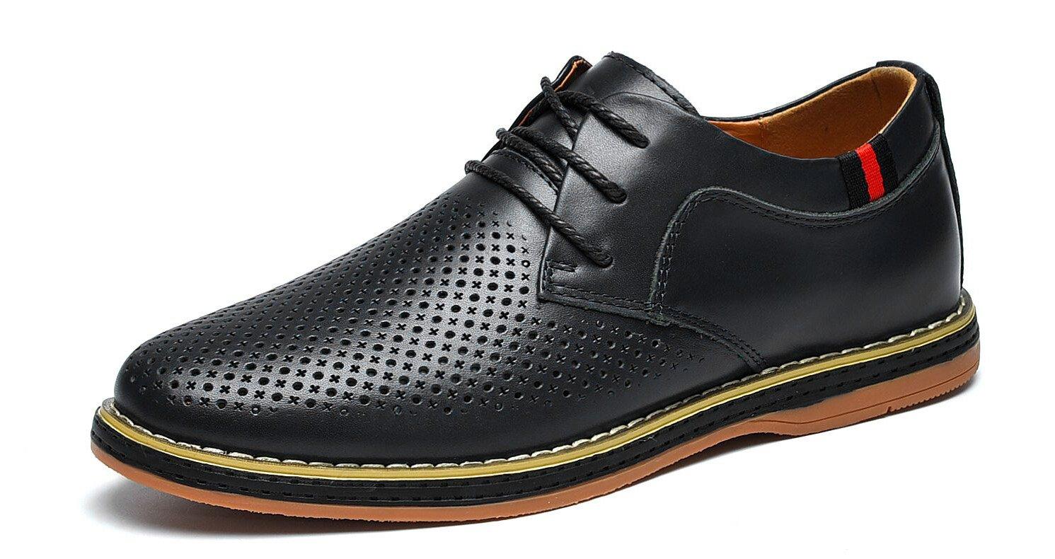 MOHEM Darren Men's Dress Shoes Premium Genuine Leather Lace-up Casual Oxfords Business Shoes(FBA)(1687008Hole-Black48)
