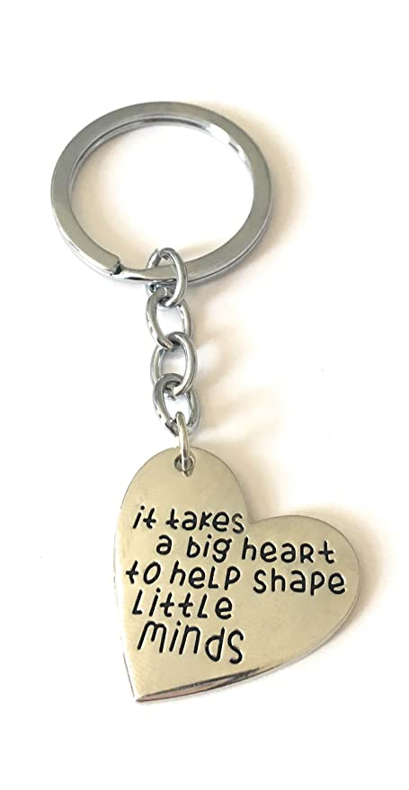 UK /'It Takes A Big Heart To Shape Little Minds/' KEYRING  Present For TEACHER