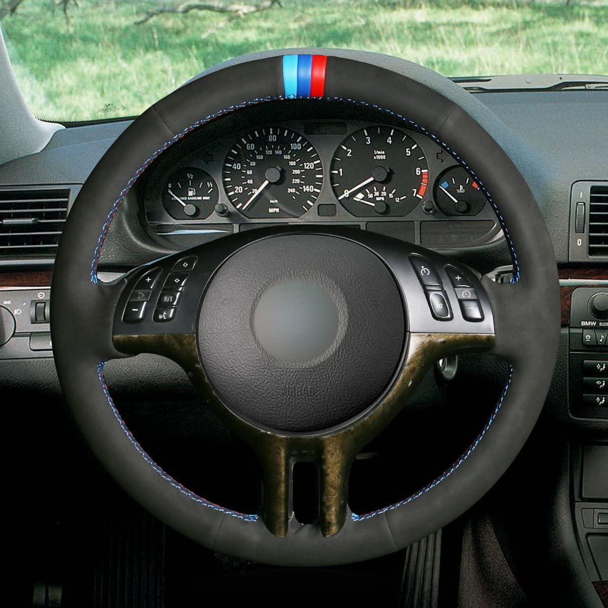 X5 E53 2000-2001 MEWANT Hand-Stitched Customized Black Genuine Leather Steering Wheel Wrap for BMW 3 Series E46 E46//5 2000 2001 2002 2003 2001 2005