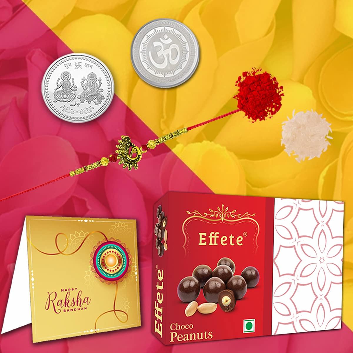 Rakhi/Bracelet with Chocolate Peanuts 32gm, Roli & Chawal, Greeting Card and Laxmi Ganesh Silver Pooja Coin