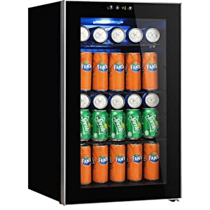 Beverage Refrigerator and Cooler - 2.9 Cu. Ft Drink Fridge with Glass Door for Soda, Beer or Wine - Small Beverage Center with 5 Removable Shelves for Office/Man Cave/Basements/Home Bar