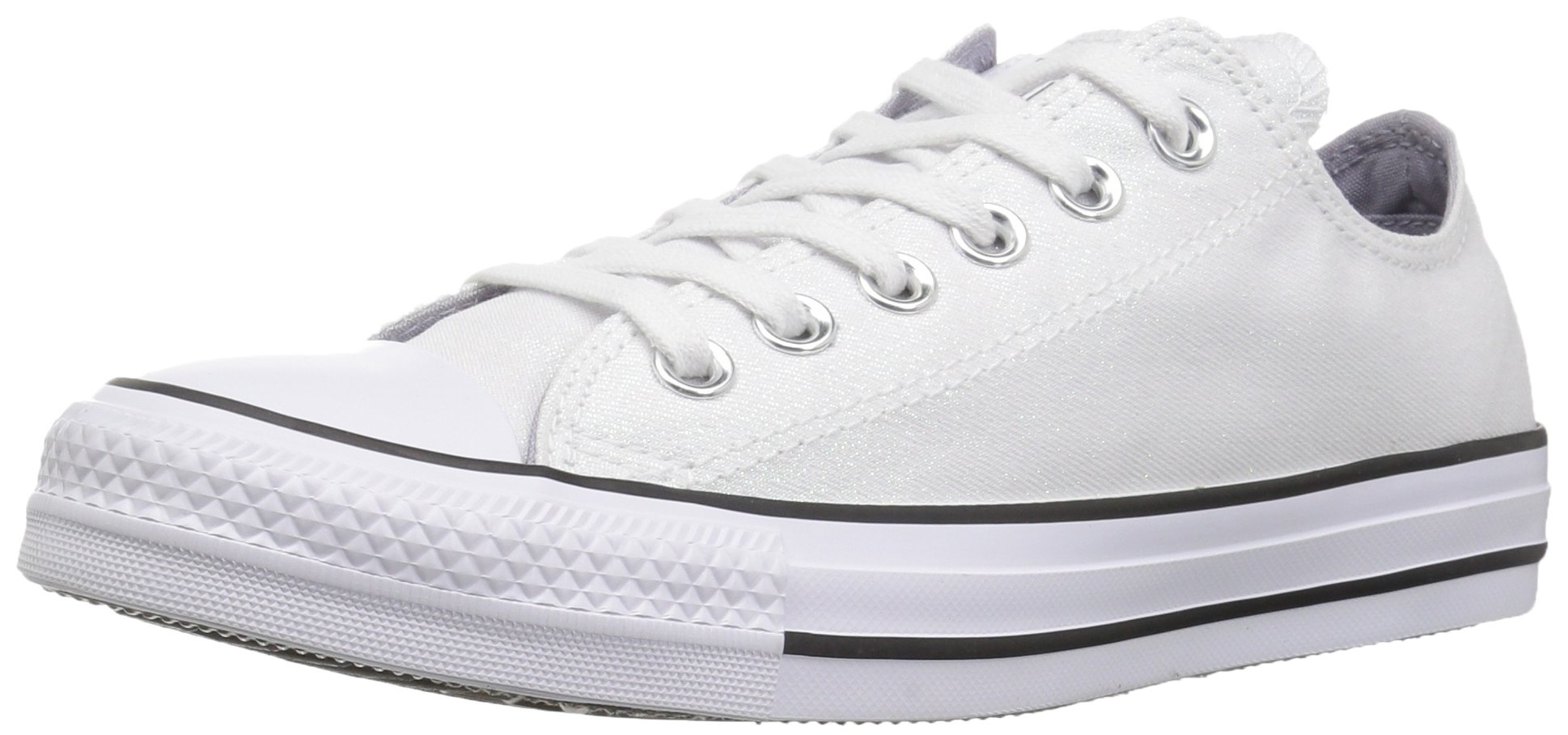 Converse Women's Chuck Taylor All Star Shiny Tile Low Top Sneaker, White/White/Black, 6.5 M US