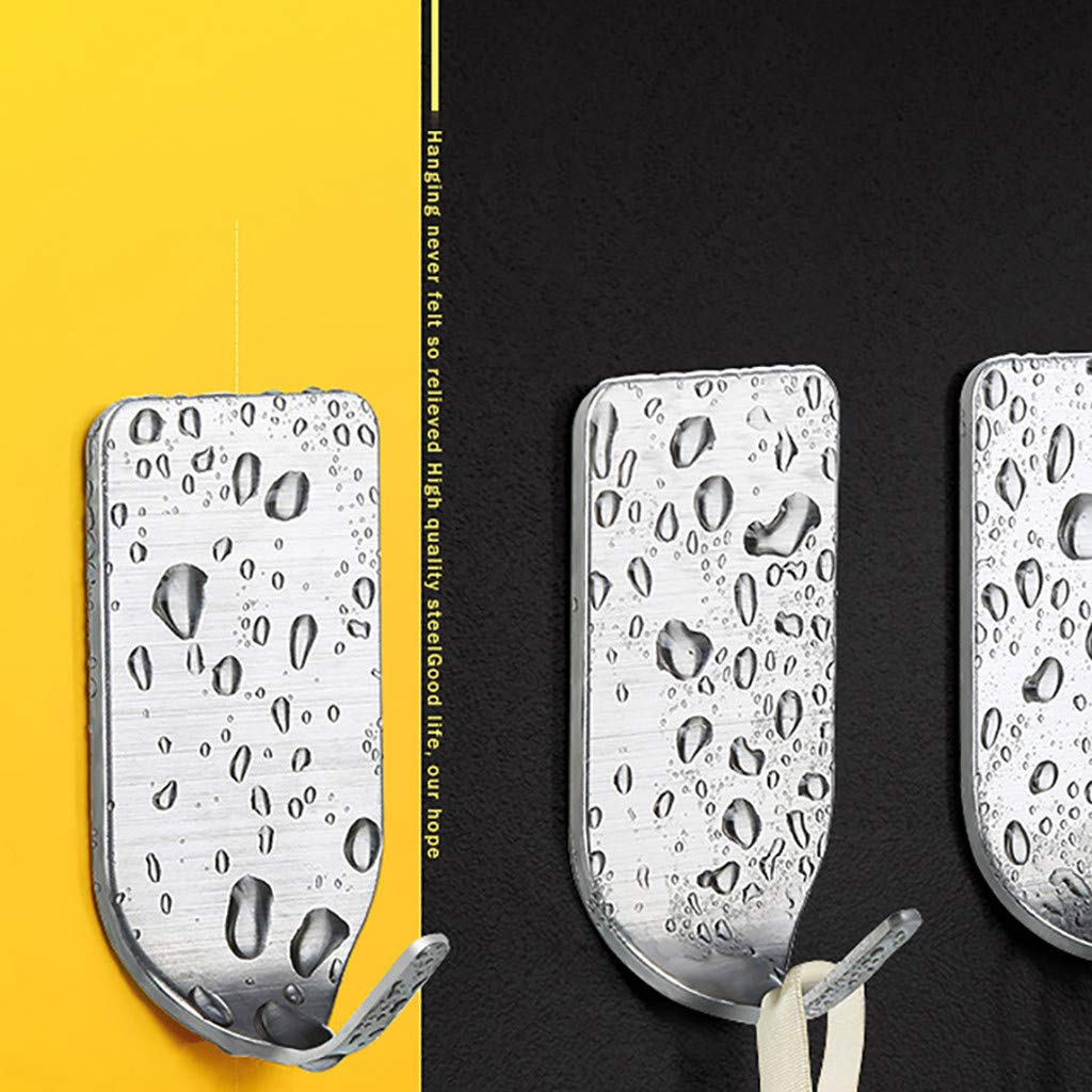 Metal Sticky Wall Hooks Waterproof Stainless Steel Hooks Self Adhesive Wall Hooks Light Duty Hanger Sticker for Hanging Robe Towel Keys Hats Bags Bathroom huz Silver Kitchen 8 Packs