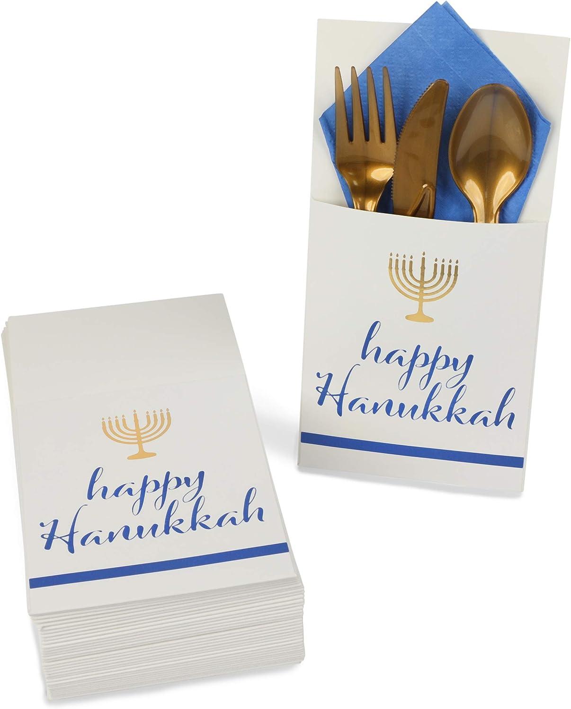 Happy Hanukkah Paper Utensil Holder, Gold Menorah (White, 3.7 x 7.5 In, 36 Pack)