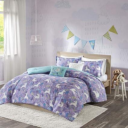 Urban Habitat Kids Lola Full/Queen Comforter Sets for Girls - Purple, Aqua,  Unicorns – 5 Pieces Kids Girl Bedding Set – 100% Cotton Childrens ...