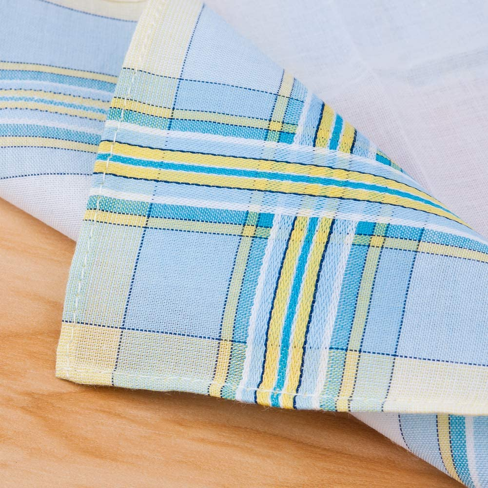 Houlife Ladies 100/% 60S Combed Cotton Handkerchiefs Womens Soft Stripe Checkered Pattern Coloured Plaid Hankies for Wedding Party 6//12 Pieces 28x28cm Christmas Gifts