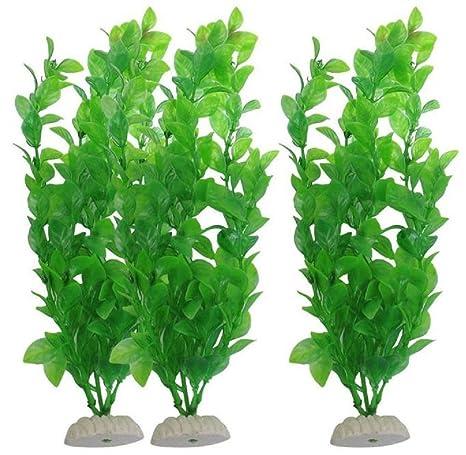 BOBOLover 3 Piezas Acuario Pecera Plantas Decorativas 10,6-Inch Verde