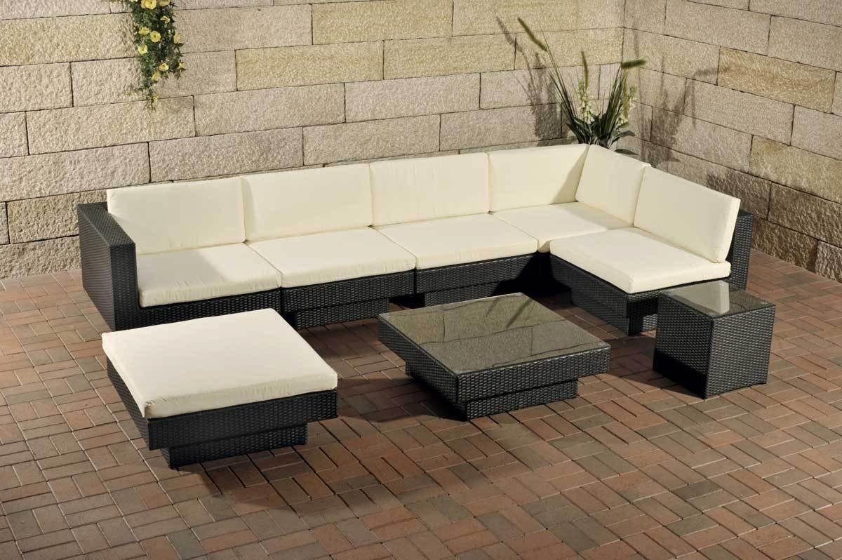 Rattan gartenmöbel sofa  CLP Poly-Rattan Gartenmöbel Lounge-Set TUNIS, 6 Sitzplätze, Lounge ...