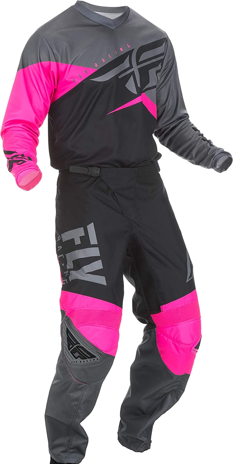 MX Riding Gear Combo Set Motocross Off-Road Dirt Bike Light Weight Durable Jersey /& Mesh Comfort Liner Stretch Pre Shaped Knees Pant Fly Racing 2019 F-16 Mens NEON Pink /& Black /& Grey Medium//32W
