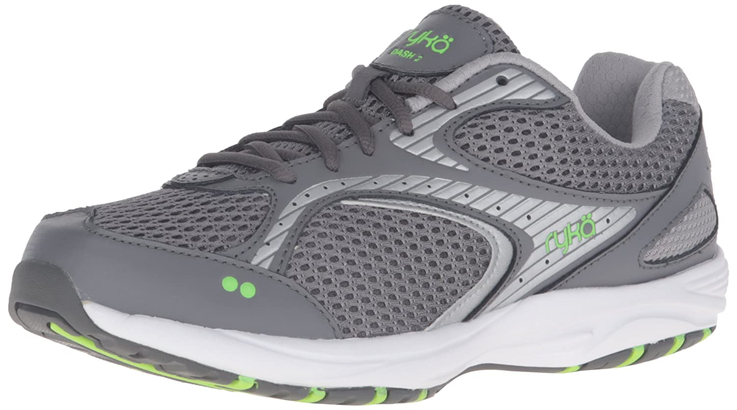 Ryka Women's Dash 2 Walking Shoe B01CF3LO9K 7 B(M) US|Grey/Silver/Lime