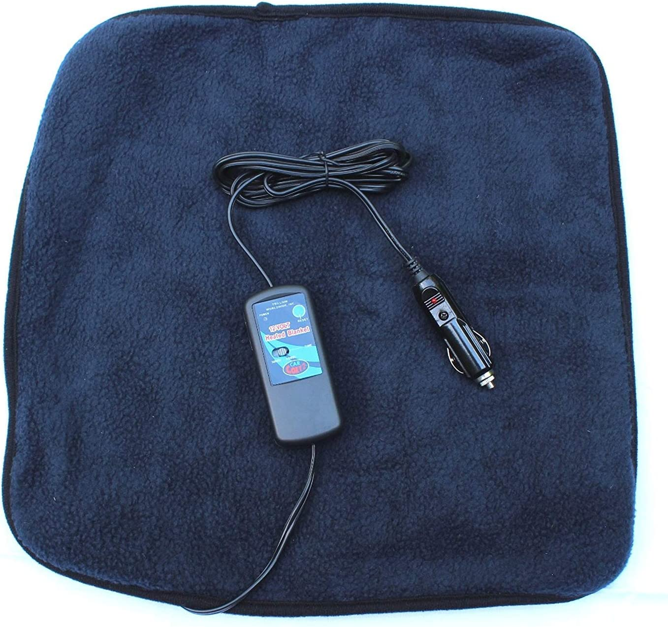 "Car Cozy 2 Mini 12-volt Heated Travel Pad (Navy, 16""x 16"") with Patented Safety Timer by Trillium Worldwide"