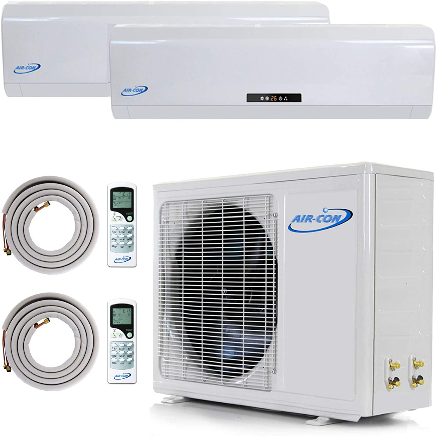 Multi Zone Mini Split Ductless Air Conditioner - Dual Zone 12000 + 12000-2 Zone Pre-Charged Inverter Compressor - Includes Two Free 25
