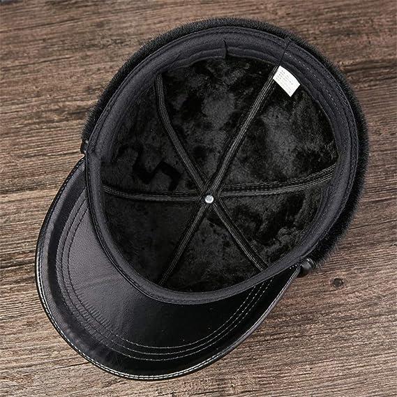 Zhanghanzong-apparel Gorras de Plato Hombre Gorra de Cuero de ...