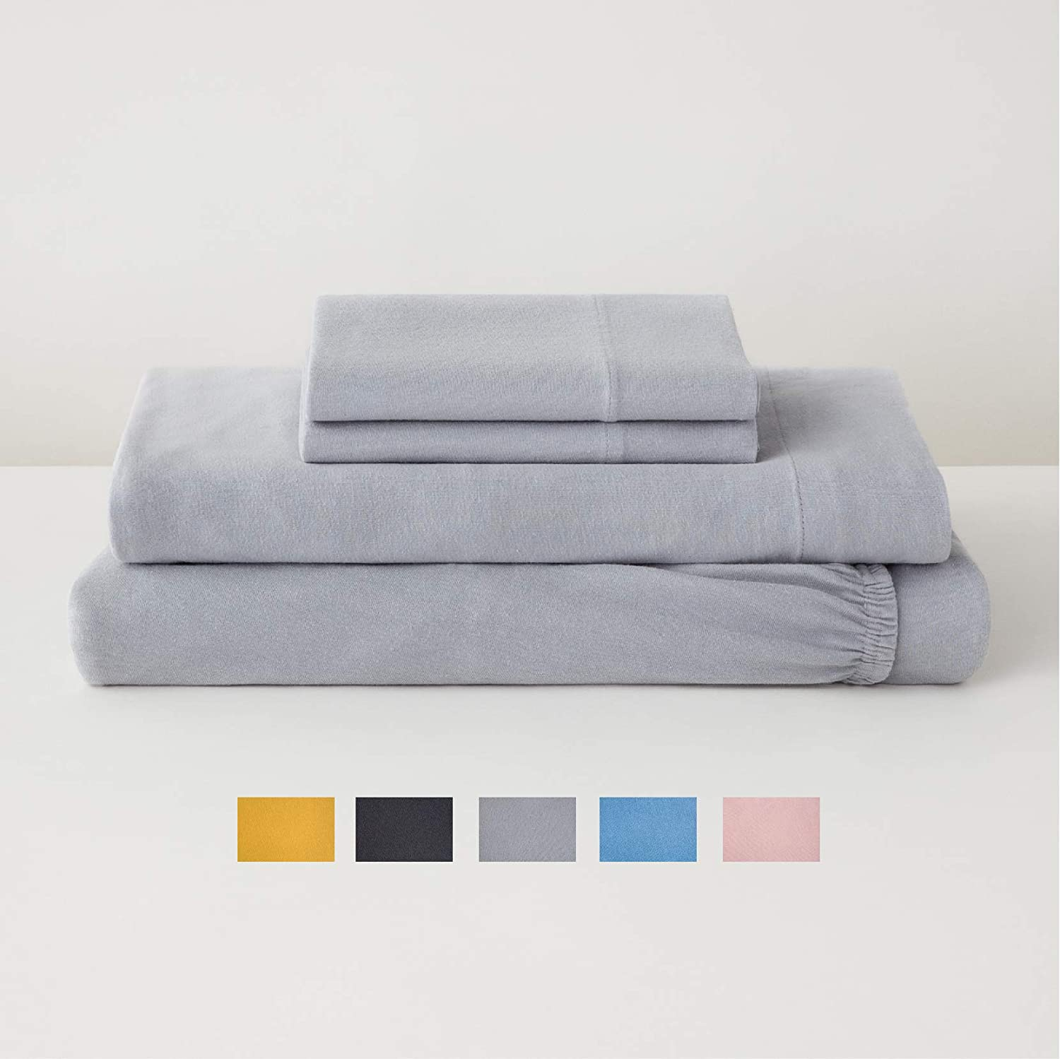 Tuft & Needle Jersey Sheet Set, Extra Soft Cotton and Tencel Lyocell - Queen - Fog
