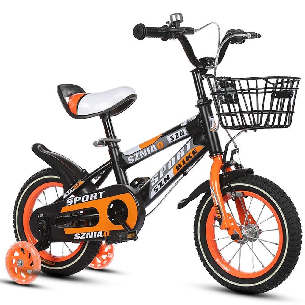 子供用自転車4-7男性と女性の乳母車16インチ子供用自転車高炭素鋼フレーム、オレンジ/青/赤 (Color : Orange)   B07CZYJQTC