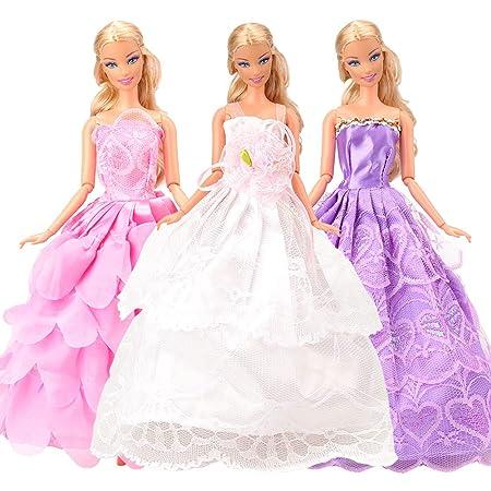 Amazon.es: Miunana 7 Novia Hermoso Vestidos de Noche Hechos a Mano Ropa Vestir de la Boda Fiesta para Barbie Muñeca Doll Regalo: Juguetes y juegos