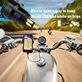 Cllena DIN Hella Powerlet Plug to Dual Quick Charge 3.0 USB Charger Adapter with LED Voltmeter for BMW Motorcycle