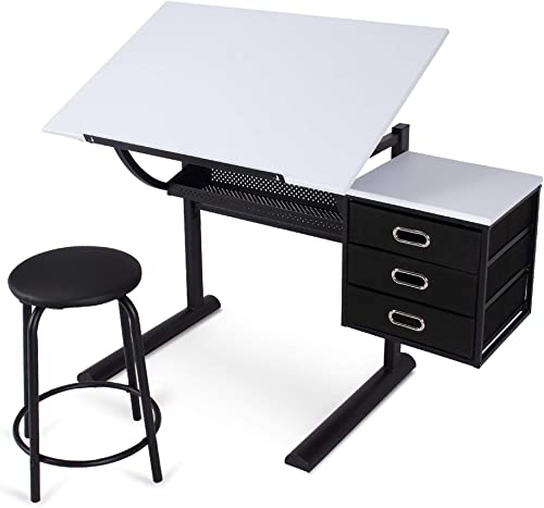 BELLEZE Adjustable Craft and Drawing Table w Storage Drawers and Padded Stool, Black and White