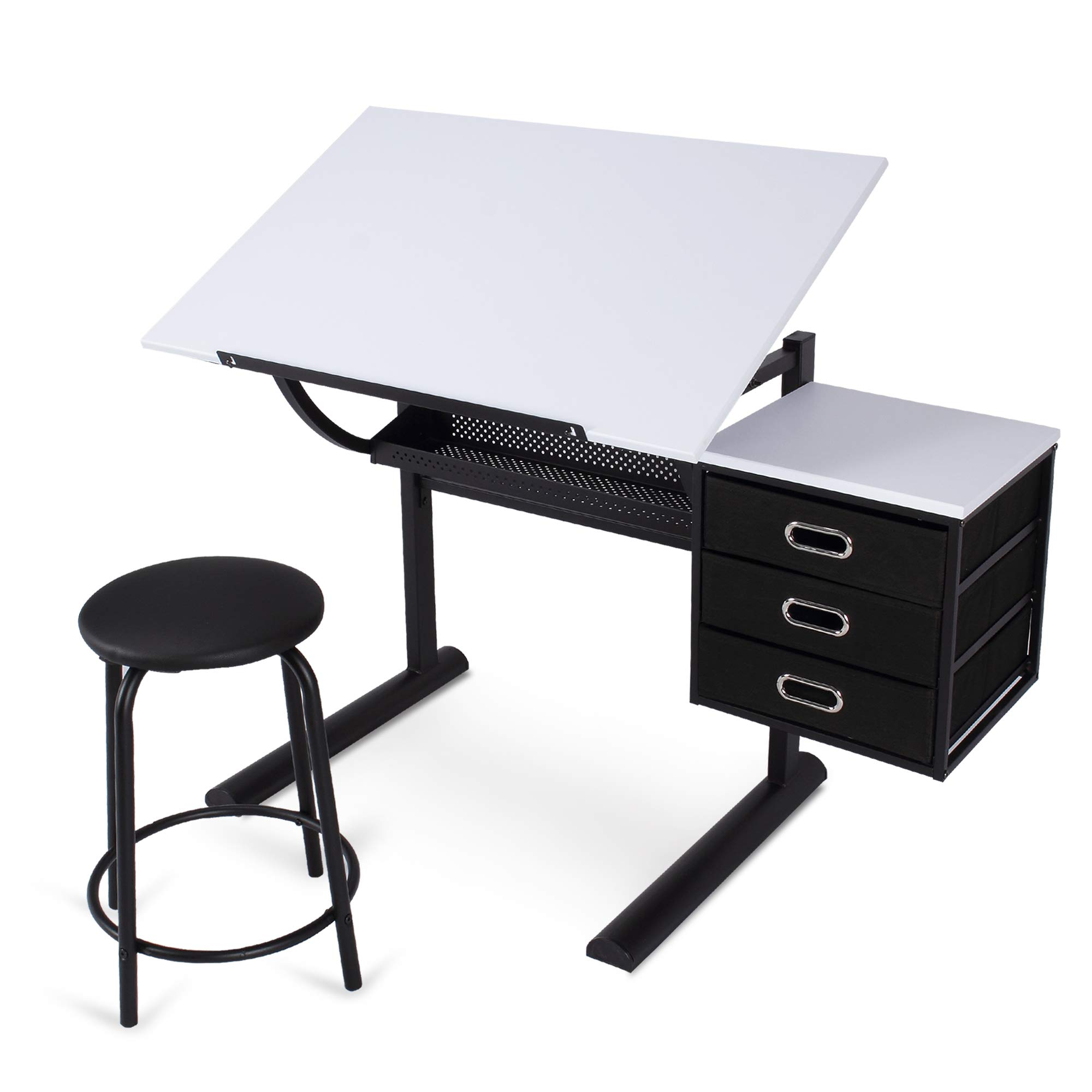 Belleze Adjustable Craft and Drawing Table w/Storage Drawers and Padded Stool, Black and White by Belleze