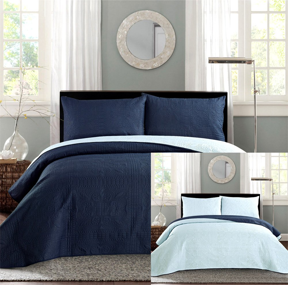 Navy blue and tan bedding - Reversible Bedspread Coverlet Set Solid Embossed Bedding