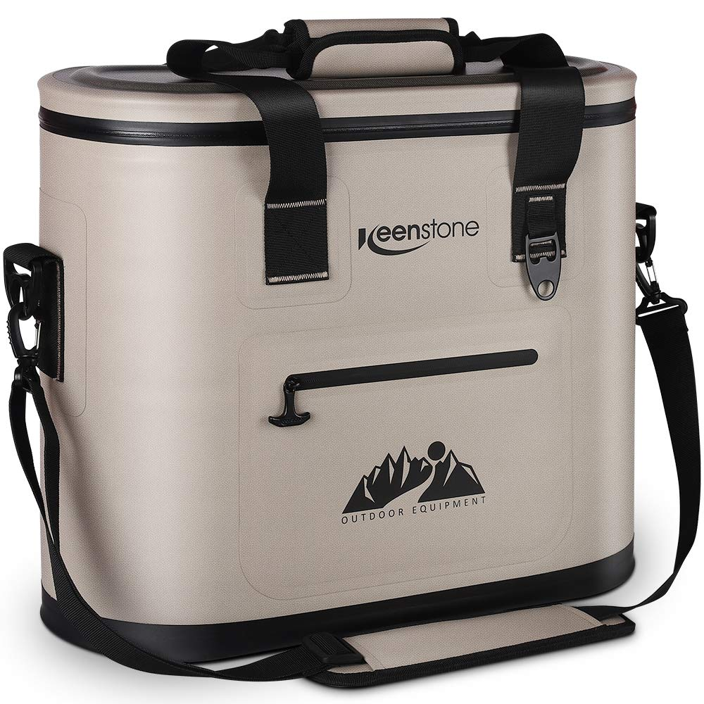 Keenstone Soft Cooler, Portable Cooler 36 Cans, Insulated Leak-Proof Soft Pack Cooler Bag for Hiking, Camping, Sports, Picnics, Sea Fishing, Road Beach Trip (Brown)