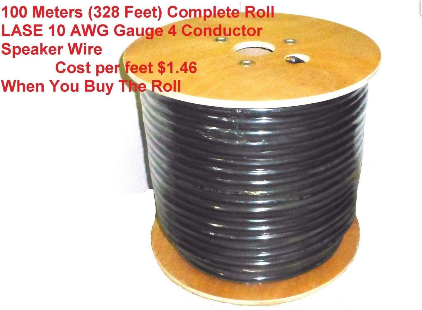 100 Meters / 328 Feet LASE 10 AWG Gauge 4 Conductor Heavy Duty Speaker Wire
