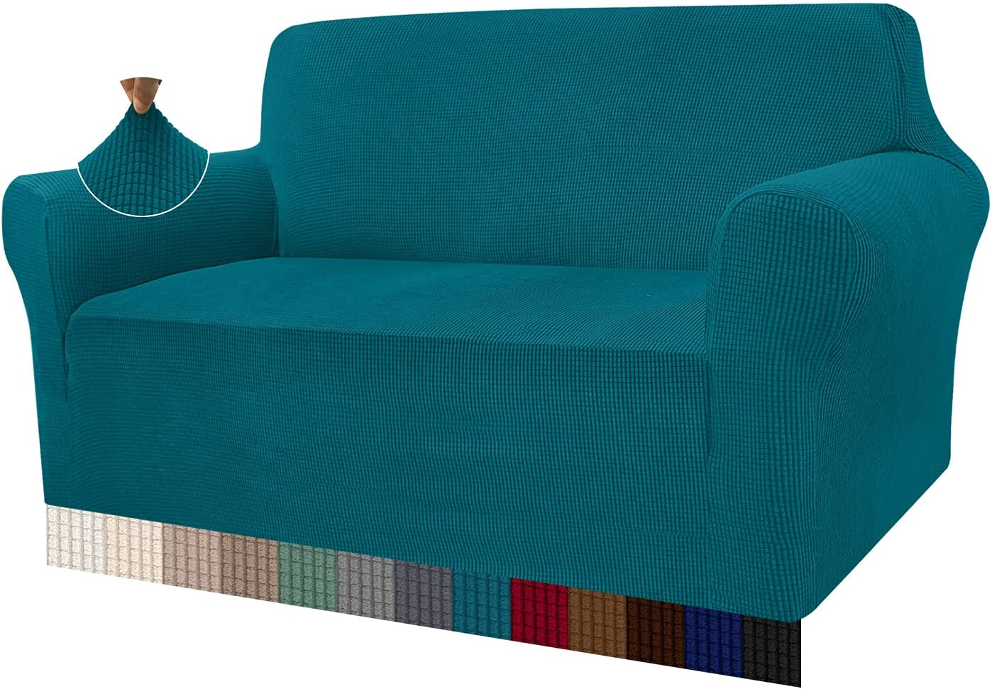 Granbest Loveseat Slipcover 1-Piece Stretch Soft Universal Couch Covers Jacquard Sofa Cover for Dogs Non Slip Furniture Protector Machine Washable (Medium, Blackish Green)