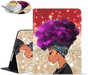 iPad Mini 5/Mini 4 Case, iPad Mini 1/2/3 Case, Adjustable Stand Auto Wake/Sleep Smart Case for iPad Mini 5th/4th Gen 7.9 inch - Red Glitter African Women with Purple Hair Hairstyle (with Coasters)