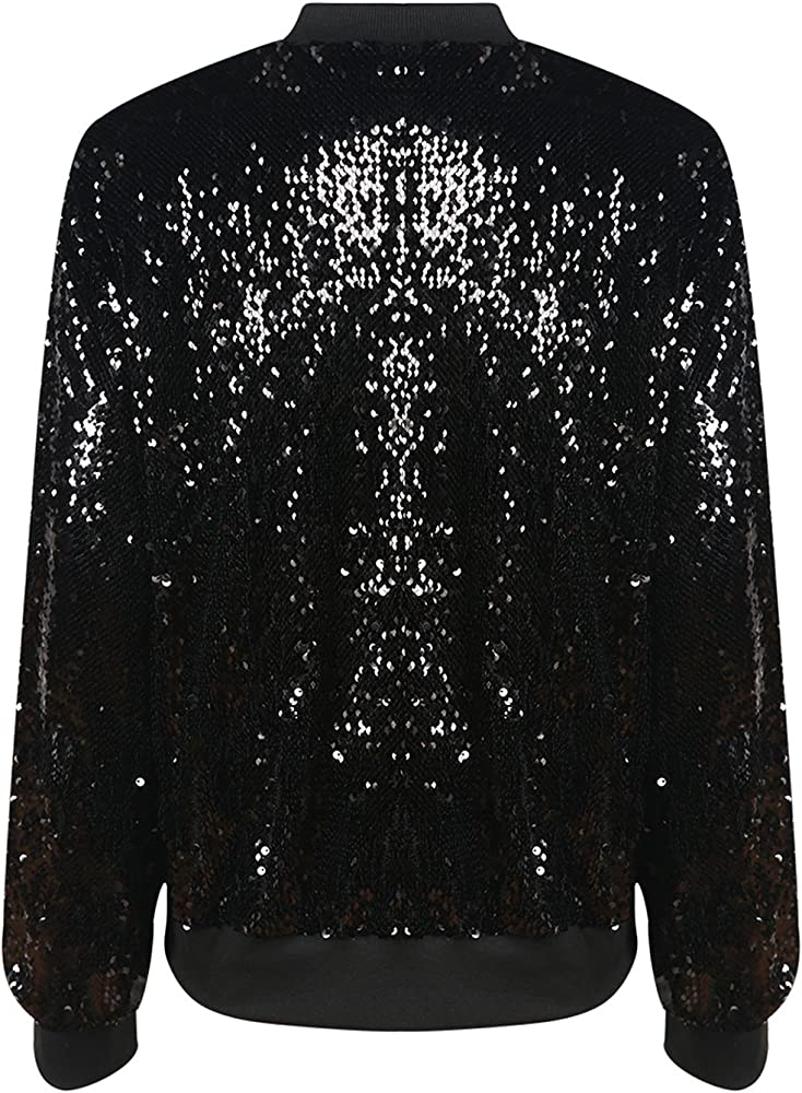 6fd1901f8 Womens Sparkly Sequin Lightweight Long Sleeve Outwear Bomber Jacket