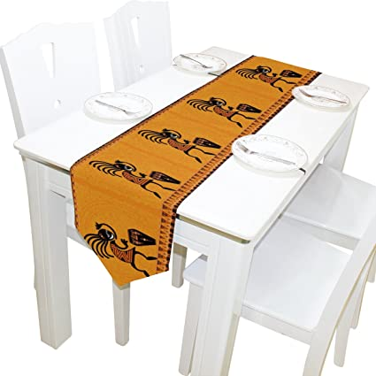 Naanle African Tribal Art Long Table Runner 13x70 Inch, Dancing Figure With  Drum Polyester Table