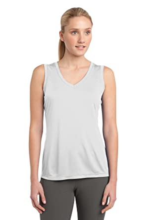 Sport-Tek Women's Sleeveless PosiCharge Competitor V Neck Tee 4XL White