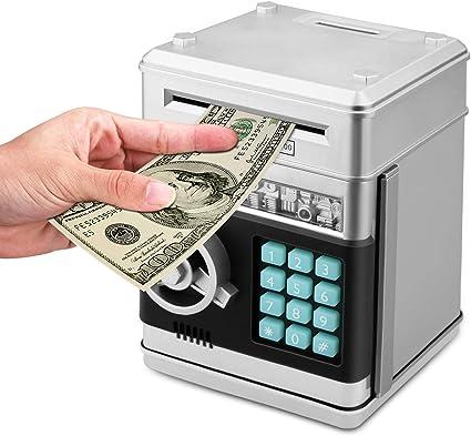 Automatic Password Cash ATM Piggy Bank Coin Money Saving Lock Box Dark Blue