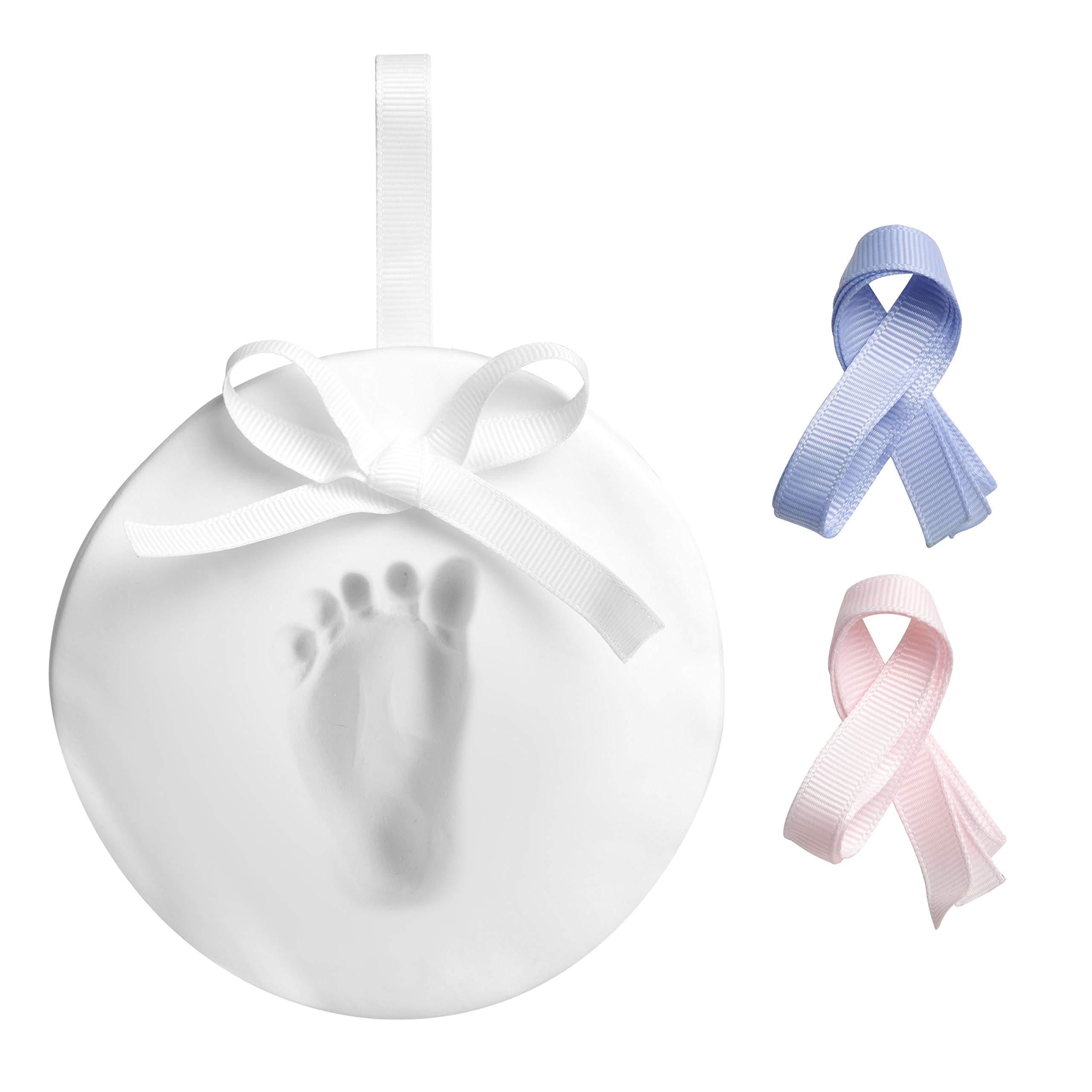 Tiny Ideas DIY Babyprints Handprint or Footprint Keepsake Ornament with Ribbon Blue