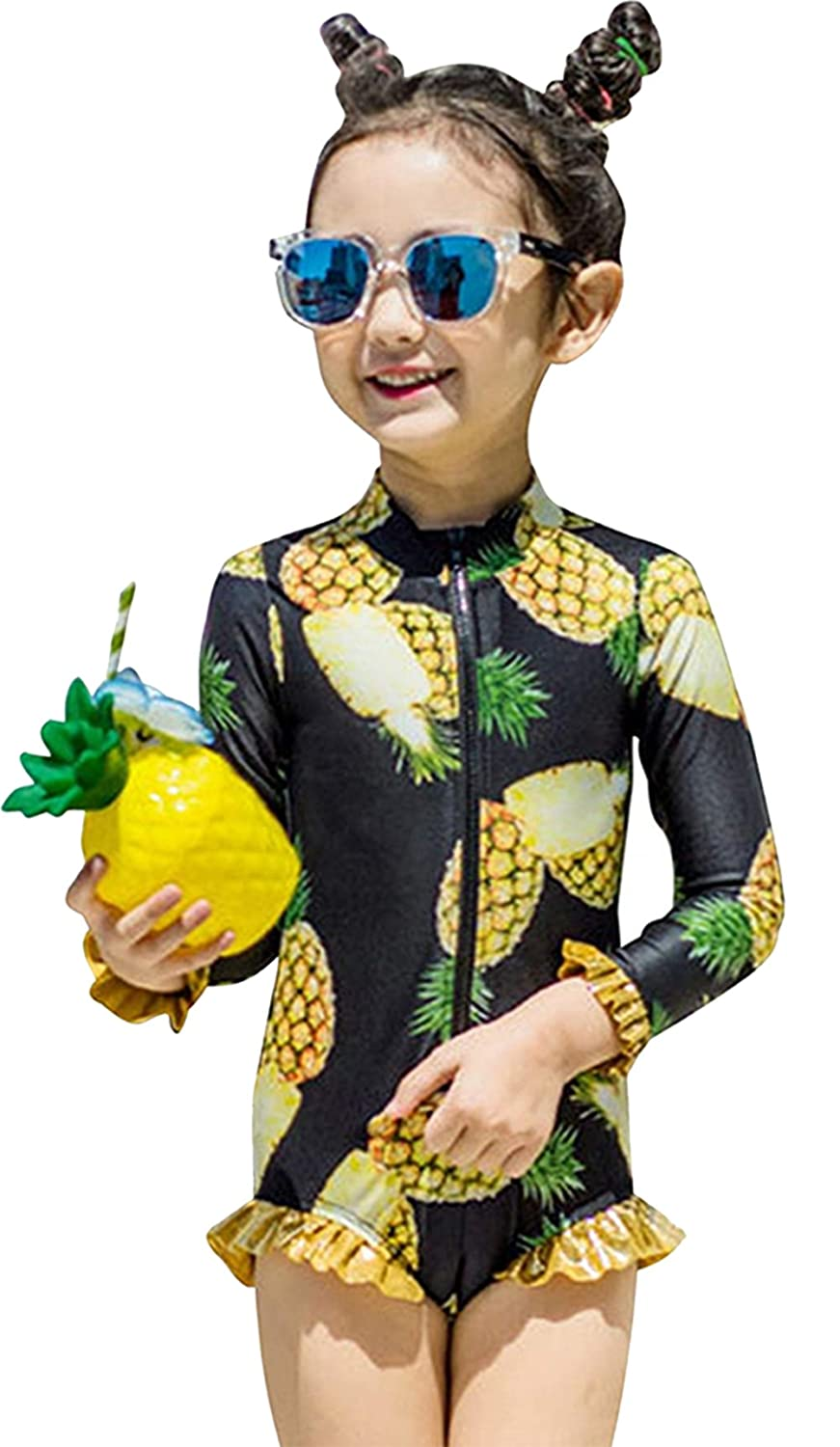 Kids Baby Girls Pineapple Print Rash Guard One-Piece Swimsuit Ruffle Swimwear BANGELY J091