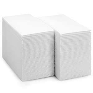 BloominGoods Disposable Cloth-Feel Tissue Paper, Hand Napkins/Linen-Feel Guest Towels, White, Pack of 100
