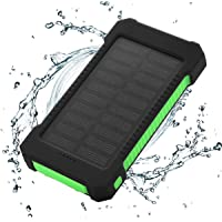 FLOUREON 10000mAh Solar Power Bank Phone Charger with LED Flashlight (Green)