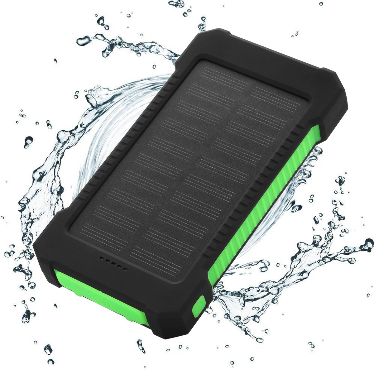 FLOUREON 10,000mAh Solar charger Power Bank Portable Phone Charger External  Battery Charger with Dual 2 1A USB LED Flashlight Output Charging forSmart