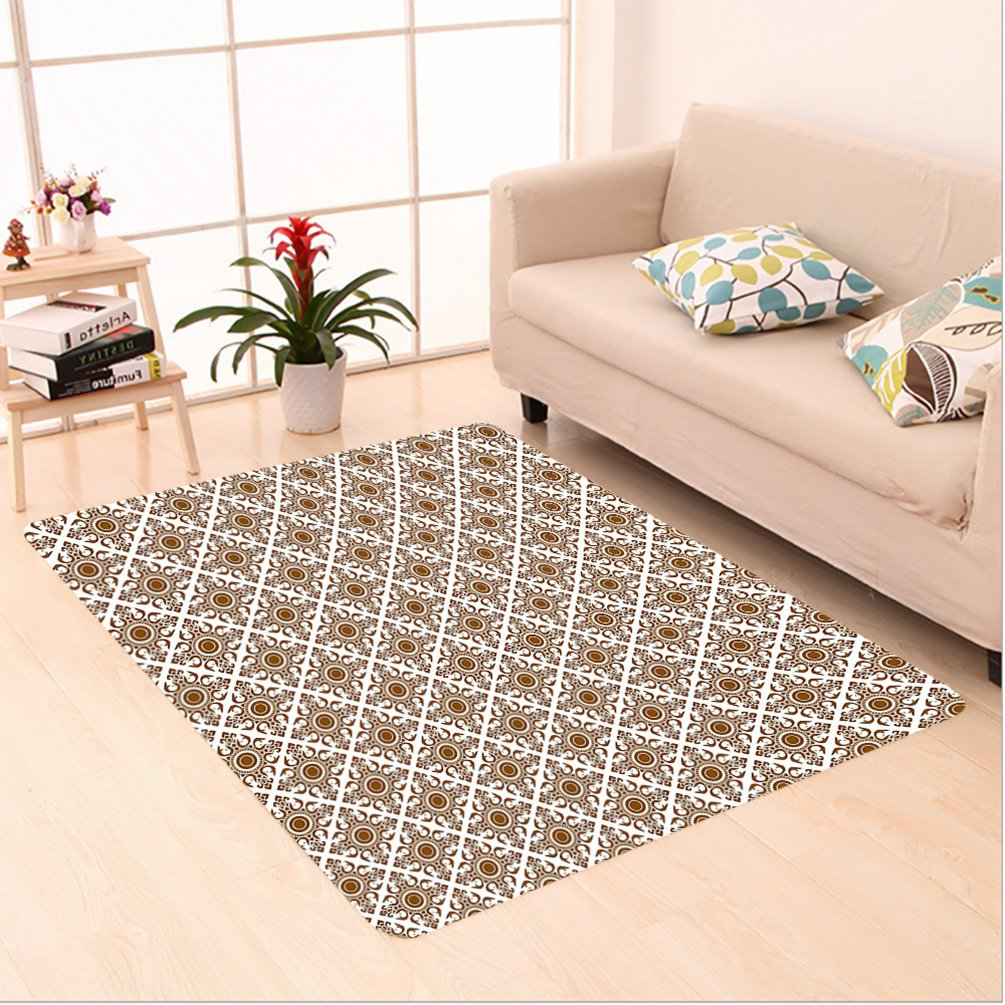 Nalahome Custom carpet nic Thai Mosaic Art Culture Stylized Abstract Lines Dots Pattern Folk Asian Design Redwood White area rugs for Living Dining Room Bedroom Hallway Office Carpet (6' X 9')