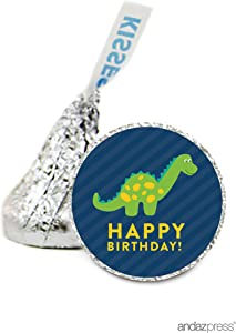 Andaz Press Chocolate Drop Labels Stickers, Birthday, Dinosaur, 216-Pack, for Hershey's Kisses Party Favors, Gifts, Decorations