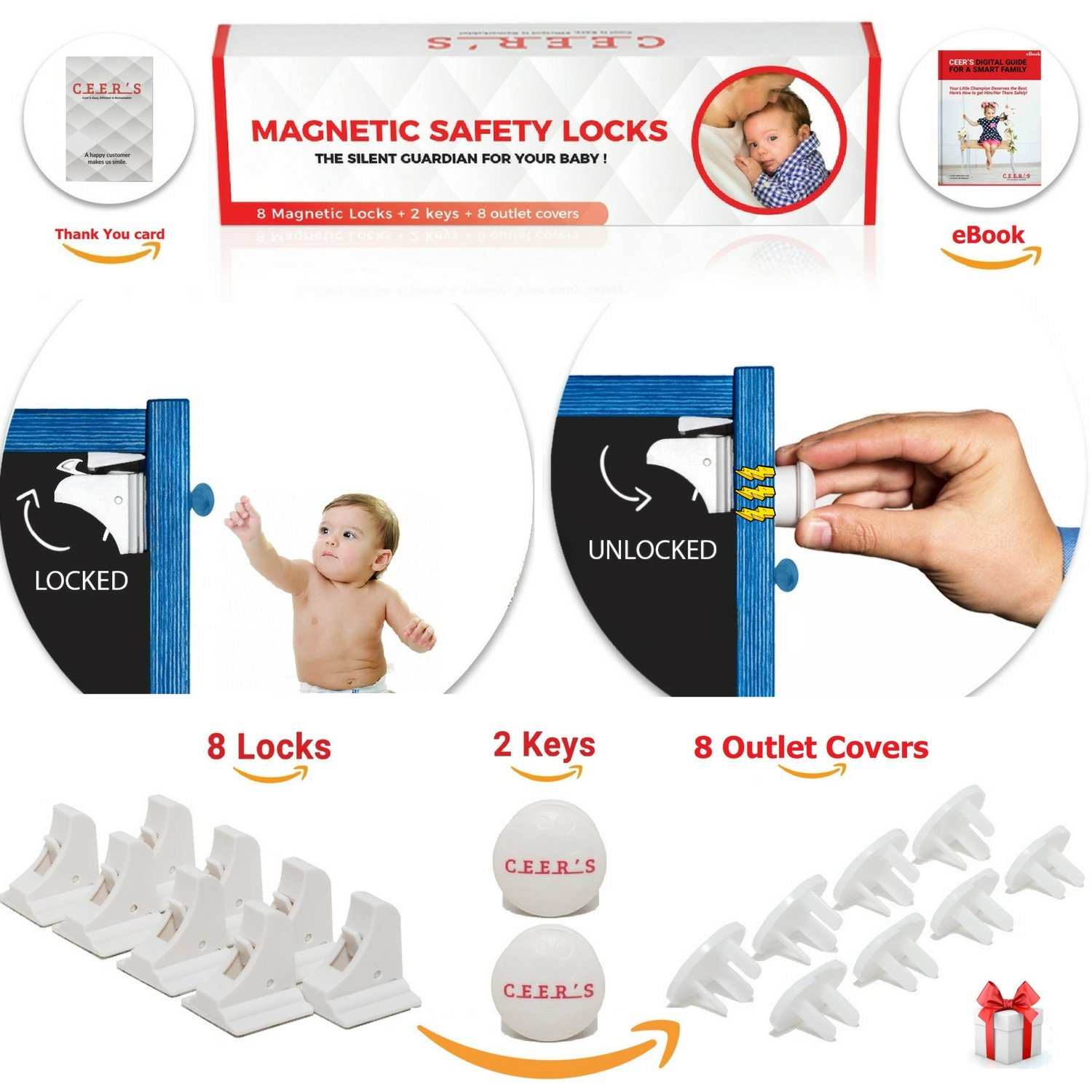 Magnetic Cabinet Locks Child Safety | 8 Baby Proof Locks and 2 Keys for All Cabinets and Drawers + 8 Outlet Covers| Easy Magnet Proofing - No Drilling Required (8 Locks 2 Keys)