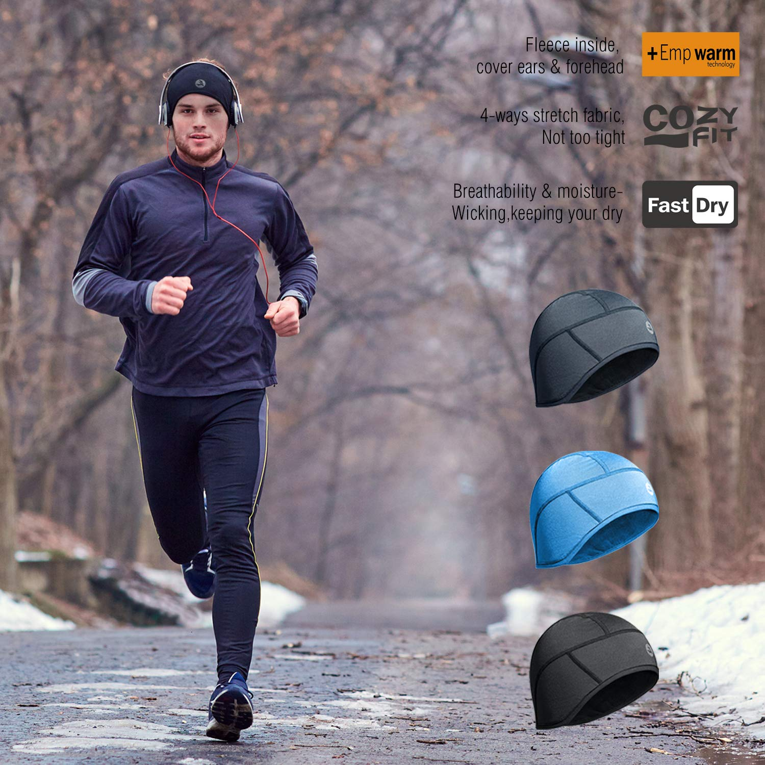 Empirelion Thermal 6-Panel Cycling Helmet Liner Winter Mid-Weight Running Skull Cap Beanie Hats with Full Ear Covers and Moisture Wicking